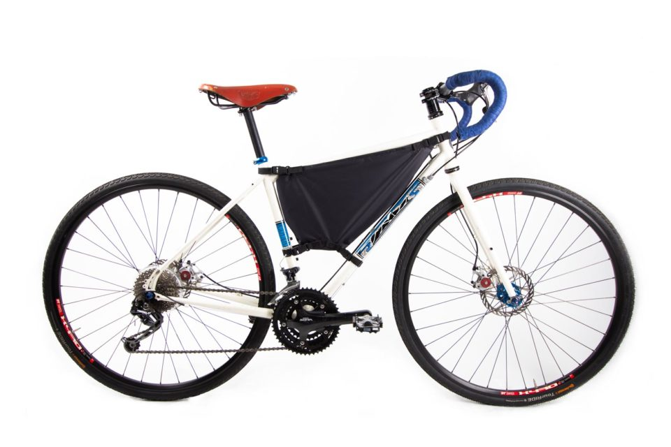 Custom Framepack mounted on a compact frame bicycle