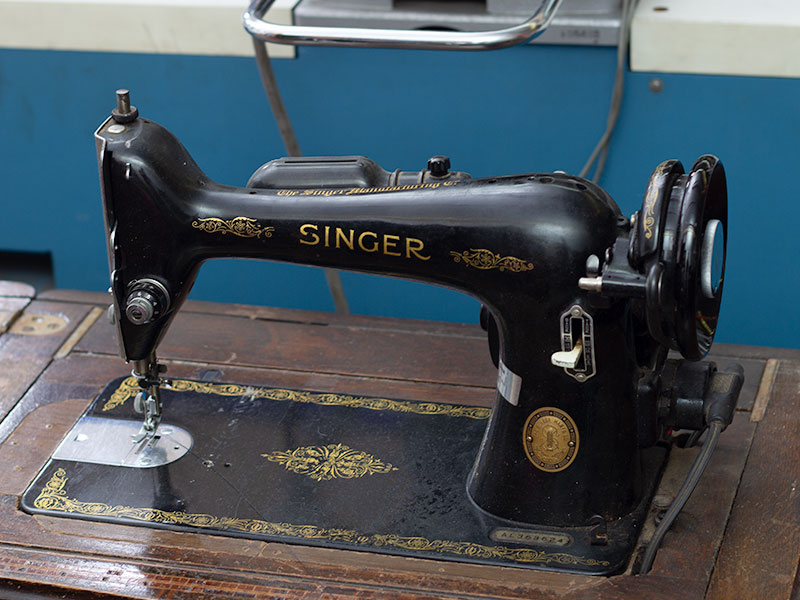 Our first sewing machine at Link's workshop